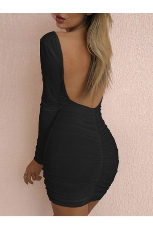 YOINS Ruched Backless Design Long sleeves Mini Dress