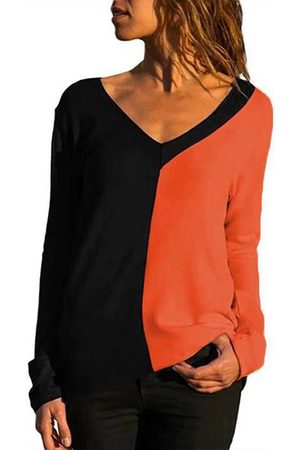 YOINS Casual Patchwork V-neck Long Sleeves Tee