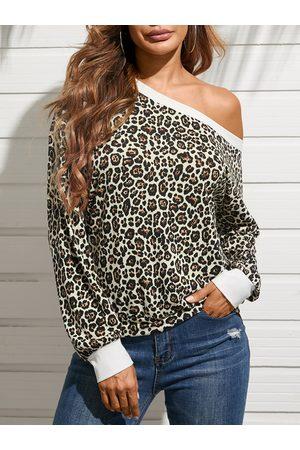 YOINS Leopard One Shoulder Long Sleeves Tee
