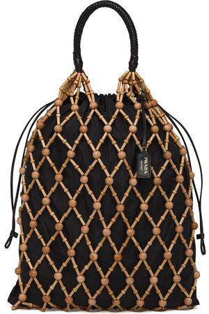 Prada Mesh leather trim bag