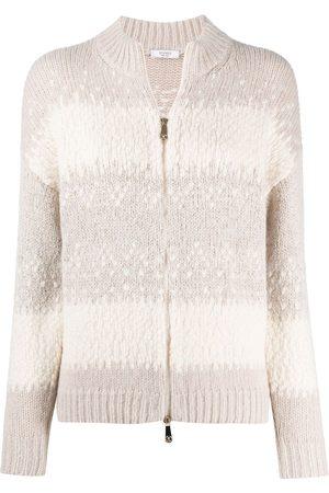 PESERICO SIGN Striped zip-up cardigan
