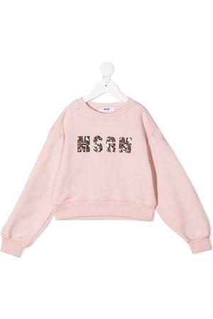 Msgm Sequinned logo print sweatshirt