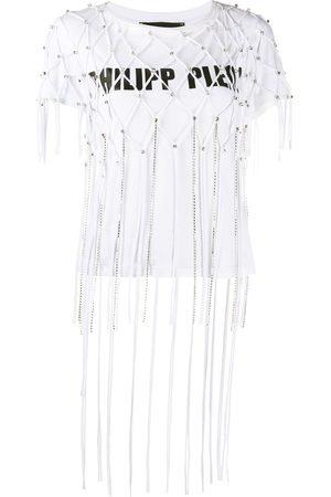 Philipp Plein Women Short Sleeve - Embellished net layer T-shirt