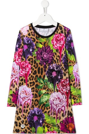 Philipp Plein Girls Casual Dresses - Leopard floral print dress