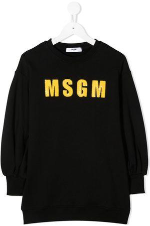 Msgm Sequined logo sweatshirt dress