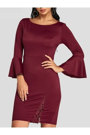 YOINS Sexy Lace Insert Bell Sleeves Party Dress