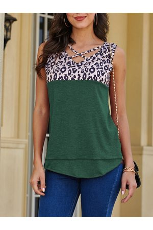 YOINS Green Patchwork Design V-neck Sleeveless Tank Top
