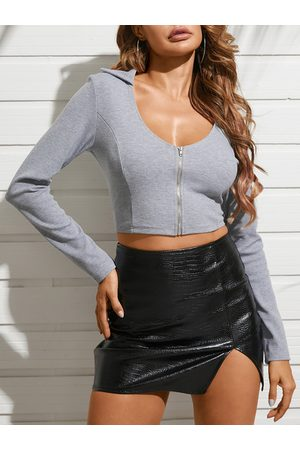YOINS Zip Design Scoop Neck Long Sleeves Crop Top