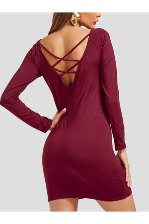 YOINS Lace-up Backless Design Off Shoulder Dress
