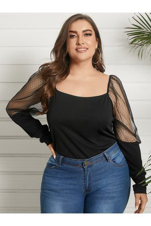 YOINS Plus Size Square Neck Mesh Patchwork Backless Design Long Sleeves Tee