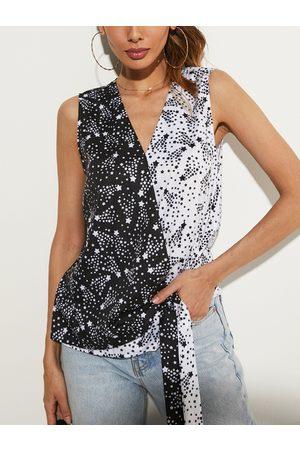YOINS Star Print V-neck Sleeveless Tank Top