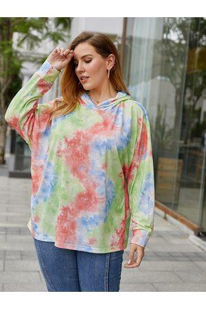 YOINS Plus Size Tie Dye Hooded Design Long Sleeves Sweatshirt