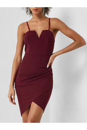 YOINS Backless Wrap Design Split Neck Spaghetti Dress
