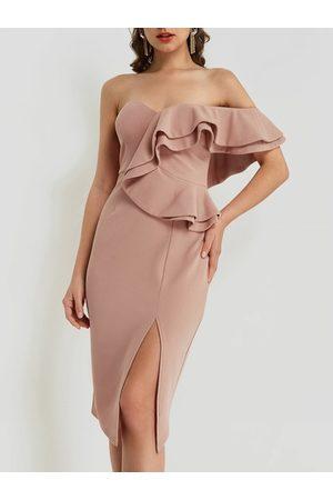 YOINS Pleated Design One Shoulder Slit Hem Dress
