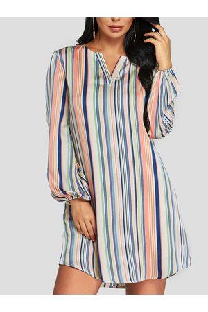 YOINS Stripe V-neck Long Sleeves Mini Dress