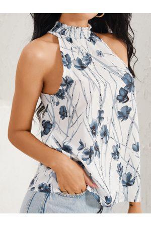 YOINS White Floral Print Halter Sleeveless Cami