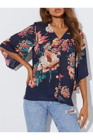 YOINS Random Floral Print V-neck Half Sleeves Blouse