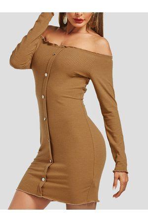 YOINS Single Breasted Design Off Shoulder Dress