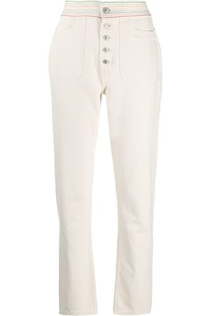 RE/DONE High-waisted contrast stitching jeans