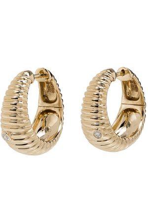 Yvonne Léon 9kt ridged diamond hoop earrings