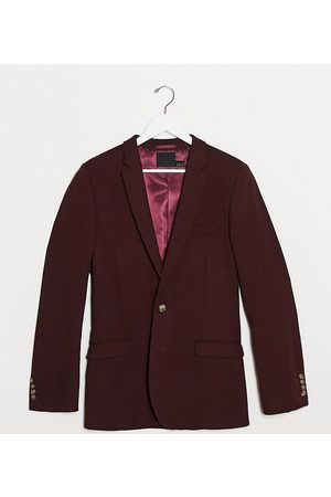 ASOS Tall wedding super skinny wool mix suit jacket in burgundy