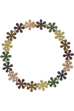 Sydney Evan 14kt yellow gold sapphire Rainbow Daisy Eternity bracelet