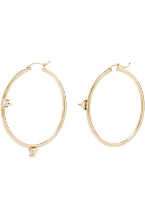 DRU. Mismatched Trillions 14kt diamond hoop earrings