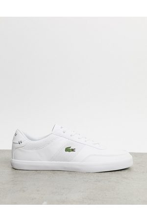 Lacoste Court master perf stripe trainers in leather