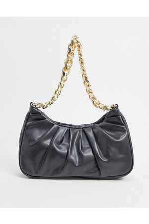 ASOS DESIGN Ruched shoulder bag in with chunky gold chain