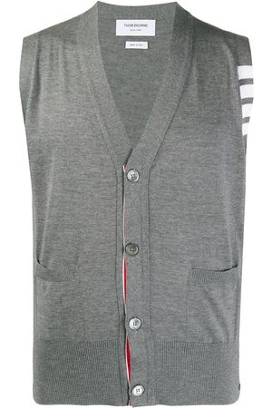 Thom Browne MEDIUM GREY GREY FINE MERINO WOOL V-NECK 4-BAR VEST