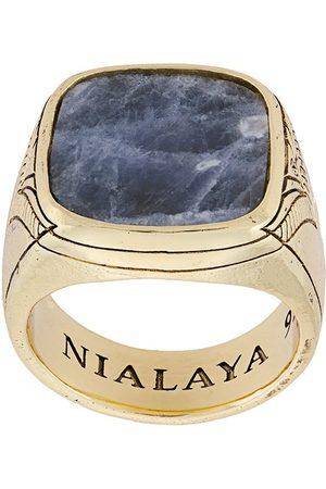 Nialaya Engraved onyx ring