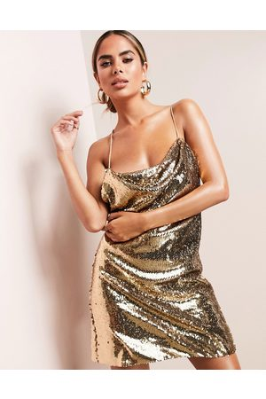 ASOS Cowl neck all over sequin mini cami dress in