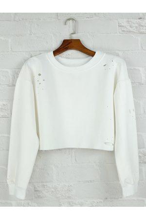 YOINS Long Sleeves Round Neck Hole Cropped Sweatshirt