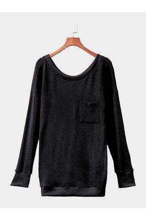 YOINS Women Sweatshirts - Casual Knit Scoop Neck Sweatshirt with Pocket