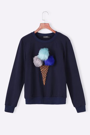 YOINS Women Sweatshirts - Navy Round Neck Sweatshirt with Pom Pom Details