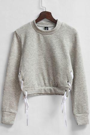 YOINS Grey High Neck Cropped Sweatshirt
