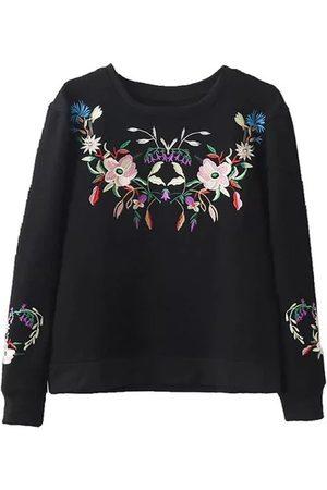 YOINS Women Sweatshirts - Round Neck Embroidery Pattern Fleece Lined Sweatshirt