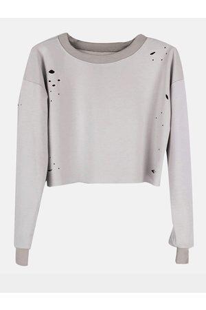 YOINS Women Long Sleeve - Light Long Sleeves Round Neck Hole Cropped Sweatshirt