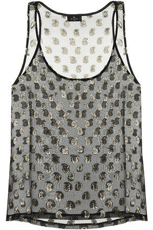 Etro Paisley silk-blend tank top