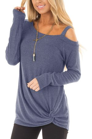 YOINS Dusty Crossed Front Design Plain One Shoulder Long Sleeves T-shirts