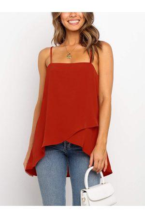 YOINS Square neck Plain Adjustable shoulder straps Backless design Criss-cross Sleeveless