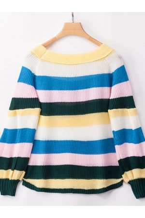 YOINS Stripe Off The Shoulder Lantern Sleeves Knit Jumper