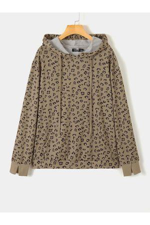 YOINS Camel Leopard Long Sleeves Hoodie