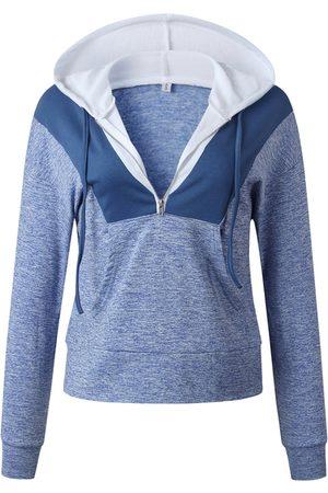 YOINS Blue Zip Front Patchwork Long Sleeves Hoodie