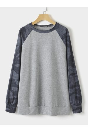 YOINS Camo Round Neck Long Sleeves Sweatshirt