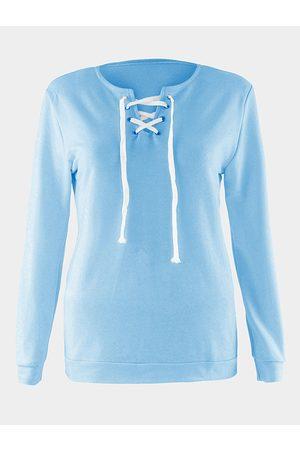 YOINS Casual Fall Style Sky Long Sleeve Lace-up Sweatshirt