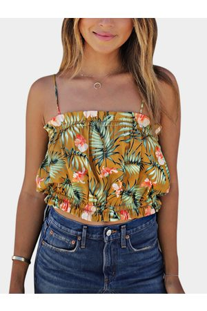 YOINS Yellow Floral Print Square Neck Stretch Waistband Spaghetti Cami