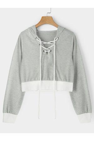 YOINS Lace-up Design V-neck Long Sleeves Crop Hoodie