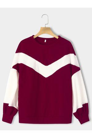 YOINS Color Block Pullover Lantern Sleeves Sweatshirt