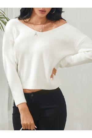 YOINS Criss-cross V-neck Long Sleeves Knit Top
